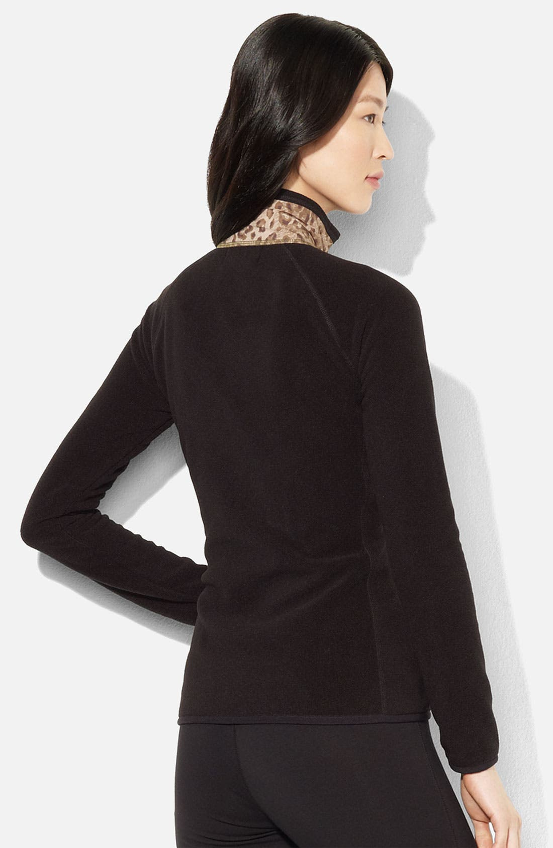 Alternate Image 2  - Lauren Ralph Lauren Print Front Fleece Jacket (Petite)