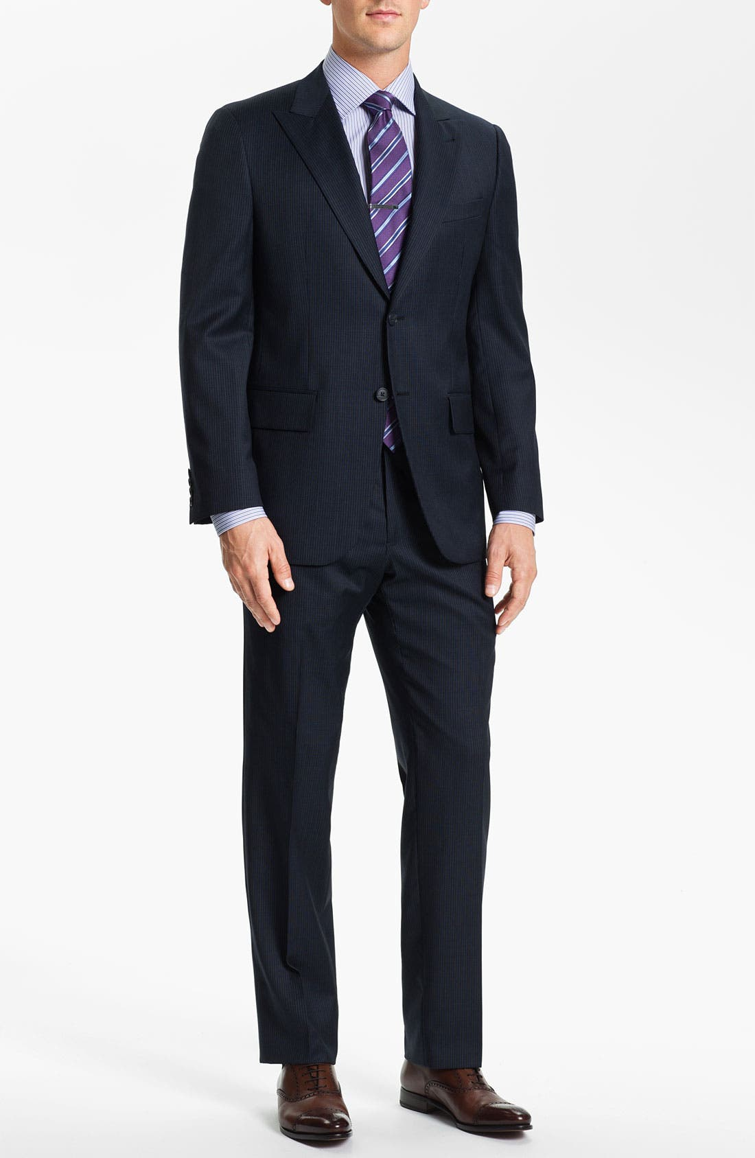Alternate Image 2  - Joseph Abboud Trim Fit Peak Lapel Stripe Suit