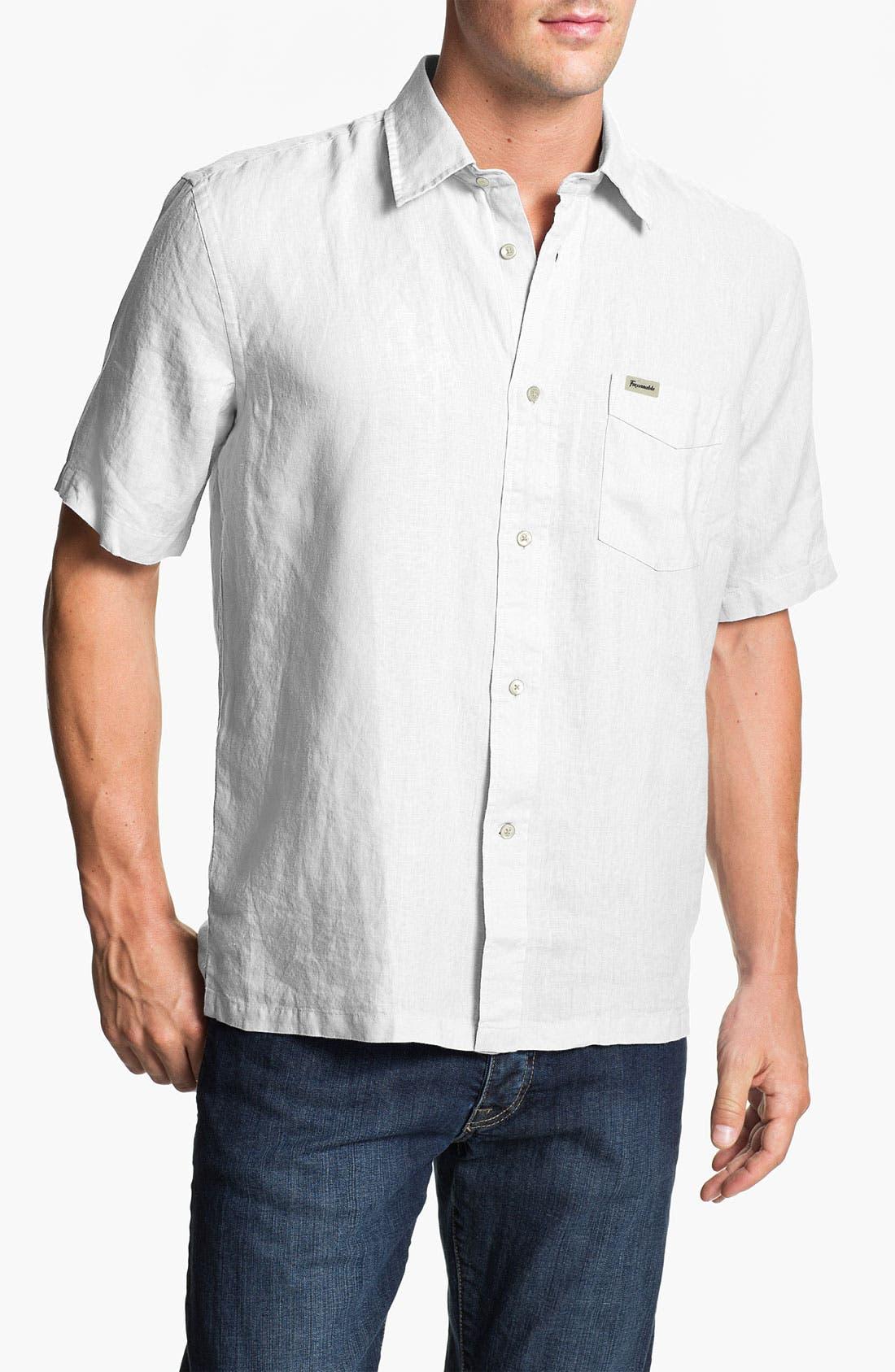 Alternate Image 1 Selected - Façonnable Classic Fit Short Sleeve Linen Sport Shirt