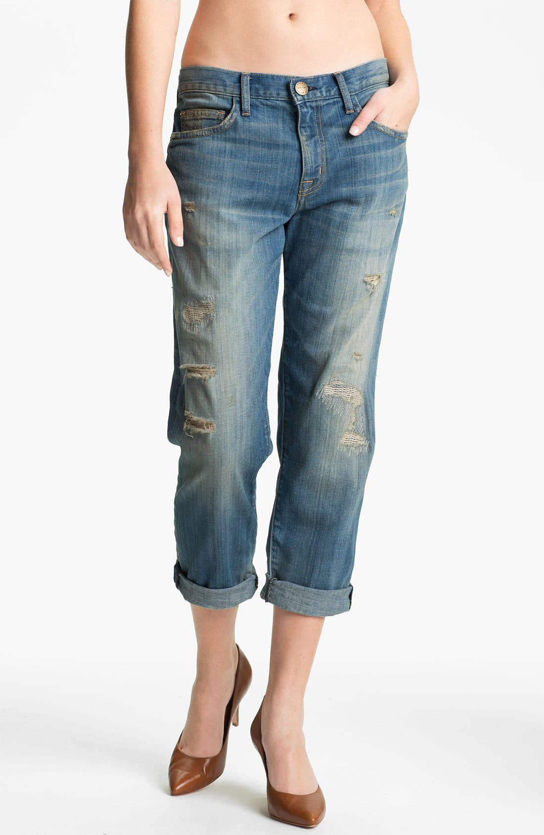 Alternate Image 1 Selected - Current/Elliott 'The Boyfriend Jean' Stretch Jeans (Panhandle with Repair)