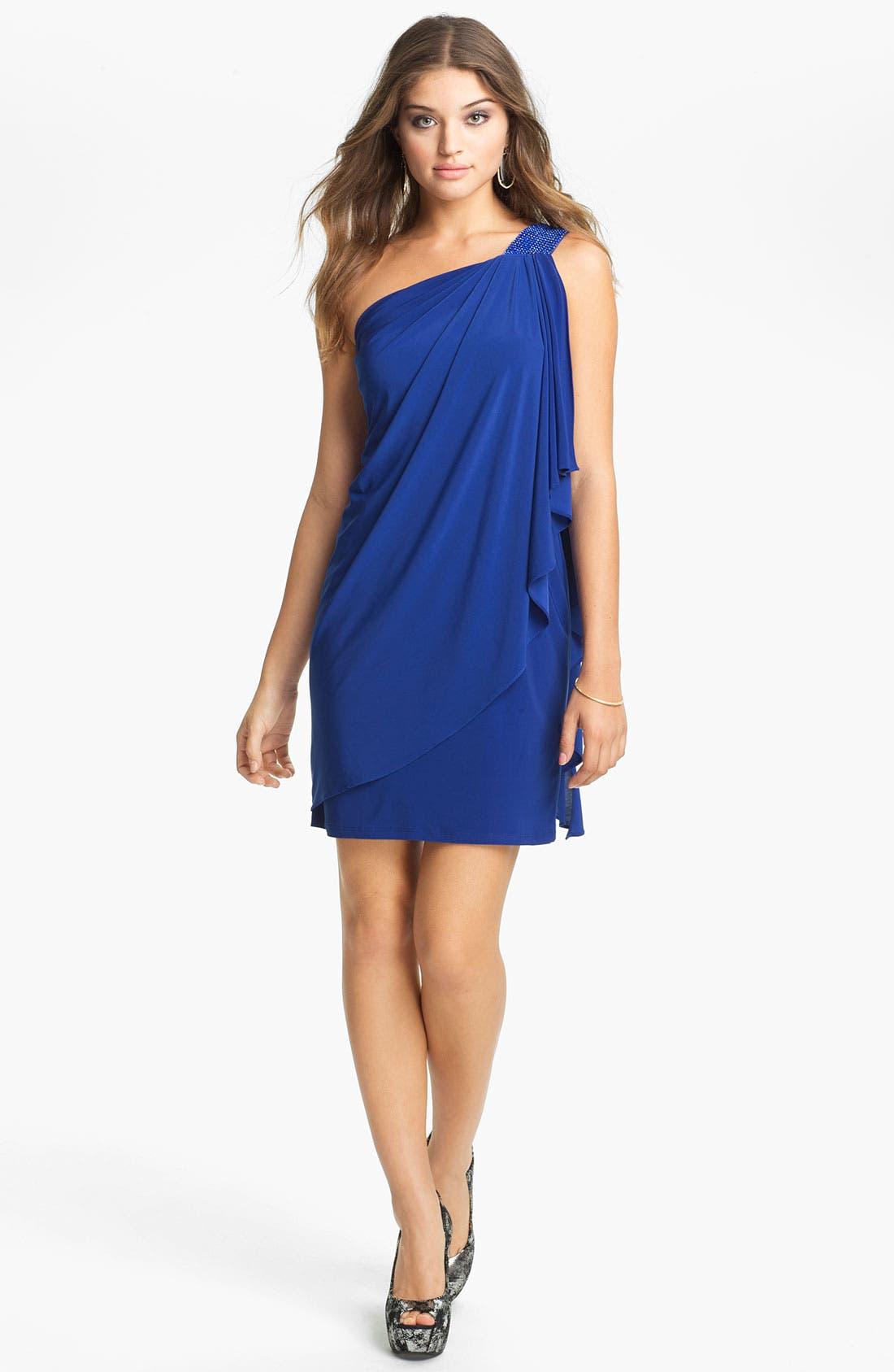 Alternate Image 1 Selected - Betsy & Adam Beaded Shoulder Draped Jersey Dress