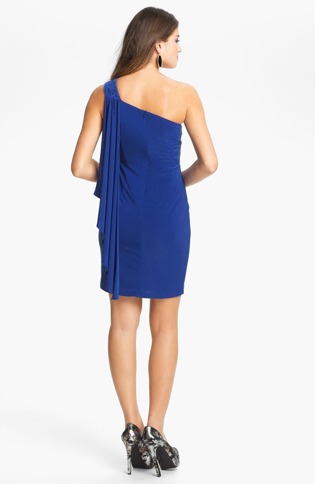 Alternate Image 2  - Betsy & Adam Beaded Shoulder Draped Jersey Dress