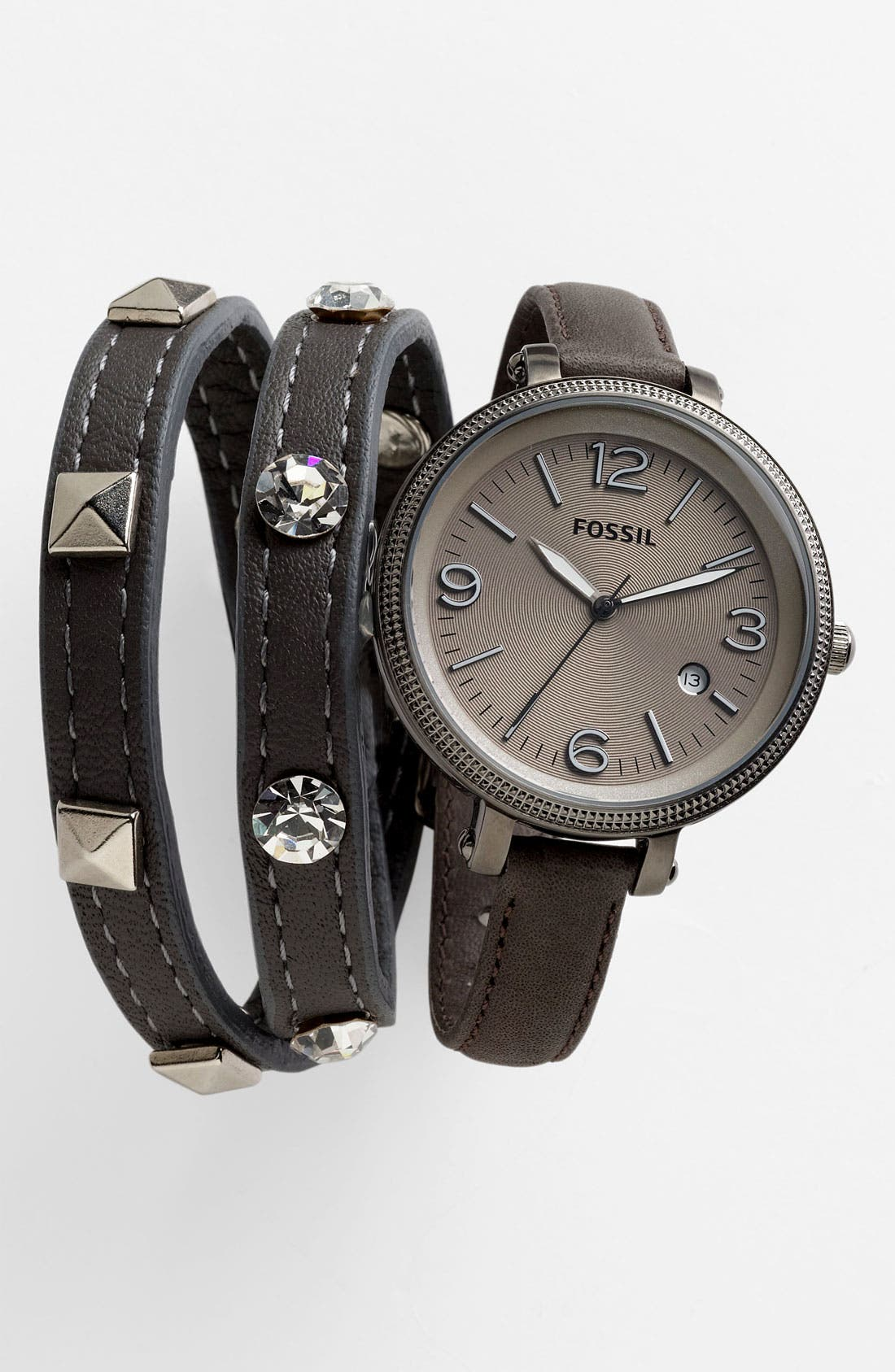 Alternate Image 2  - Fossil 'Heather' Round Leather Strap Watch, 42mm
