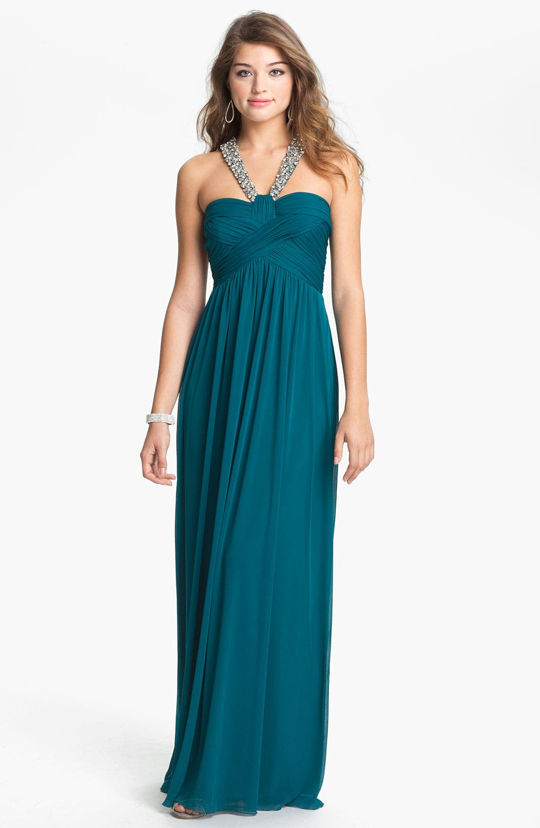 Alternate Image 1 Selected - Way-In Embellished Halter Grecian Gown (Juniors)