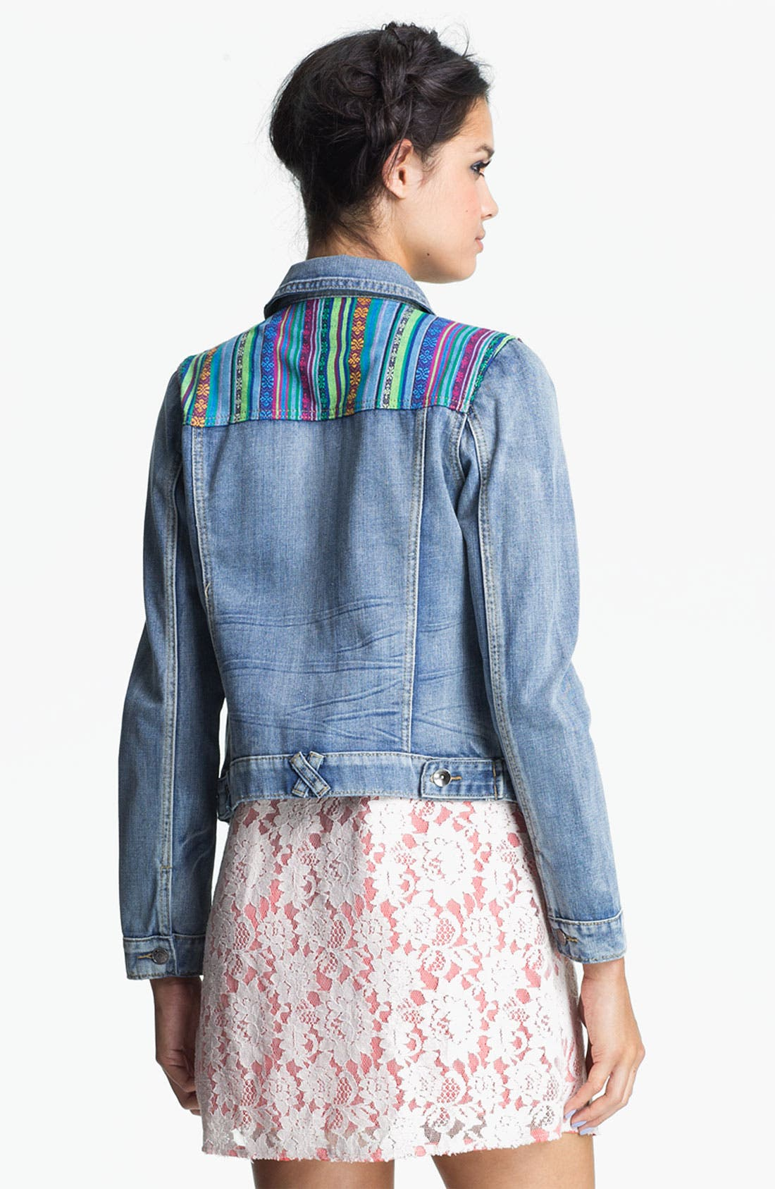 Alternate Image 2  - Angel Kiss 'Festival' Vintage Denim Jacket (Juniors)
