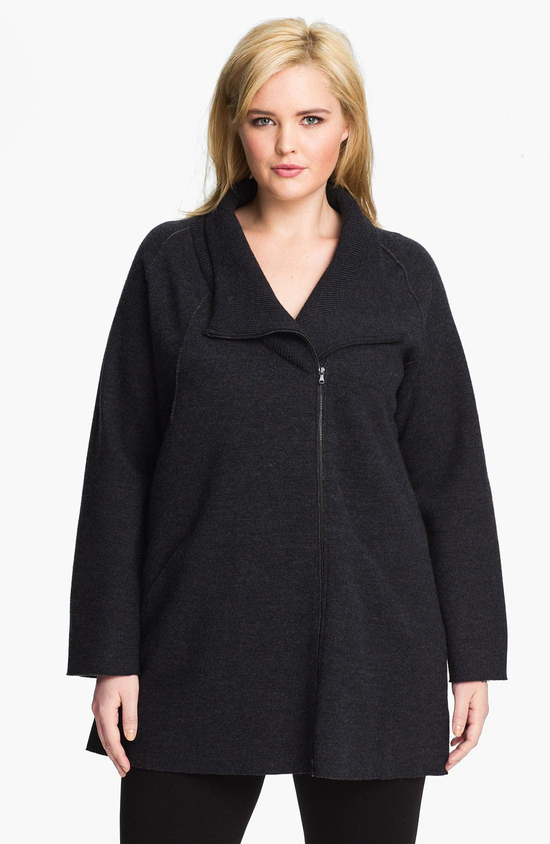 Alternate Image 1 Selected - Eileen Fisher Felted Merino Double Knit Jacket (Plus)