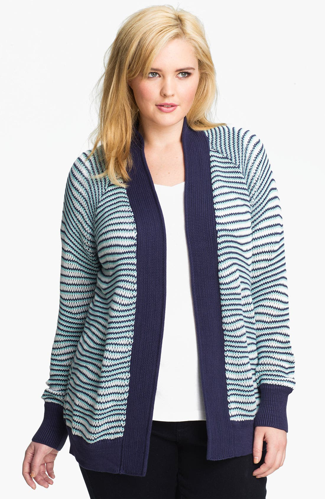 Alternate Image 1 Selected - Sejour Textured Cardigan (Plus)