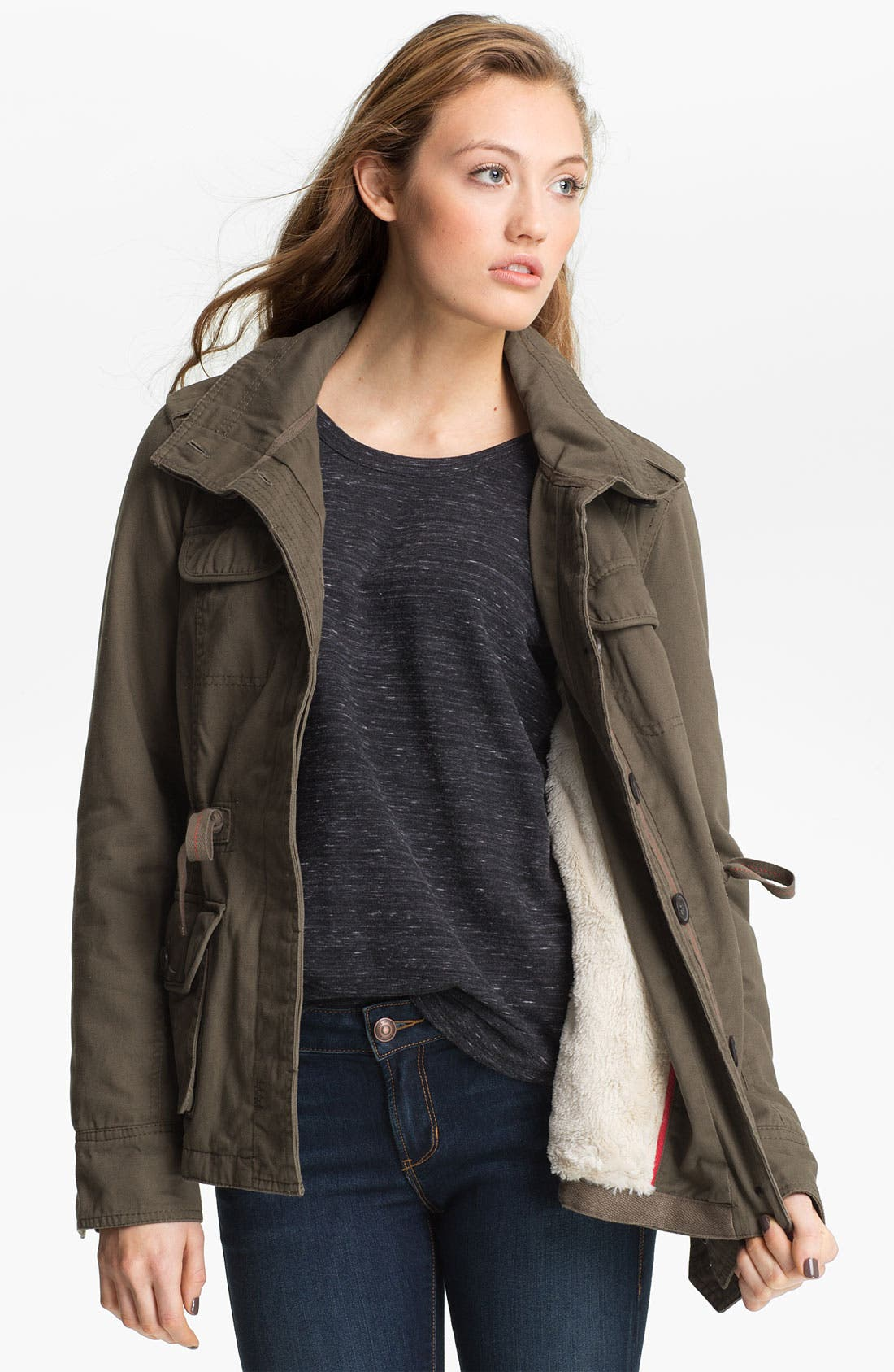 Alternate Image 3  - Coffee Shop Faux Shearling Lined Anorak (Juniors)
