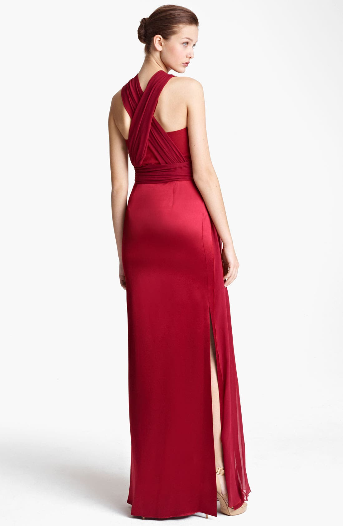 Alternate Image 2  - Vionnet Ruched Chiffon & Satin Gown