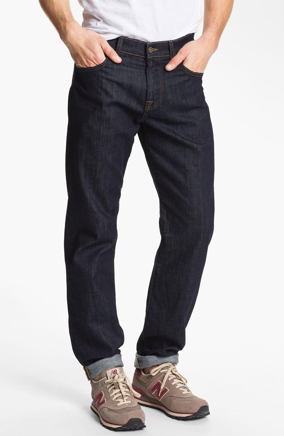 Alternate Image 1 Selected - 7 For All Mankind® 'Carsen' Easy Straight Leg Jeans (Dark Clean)