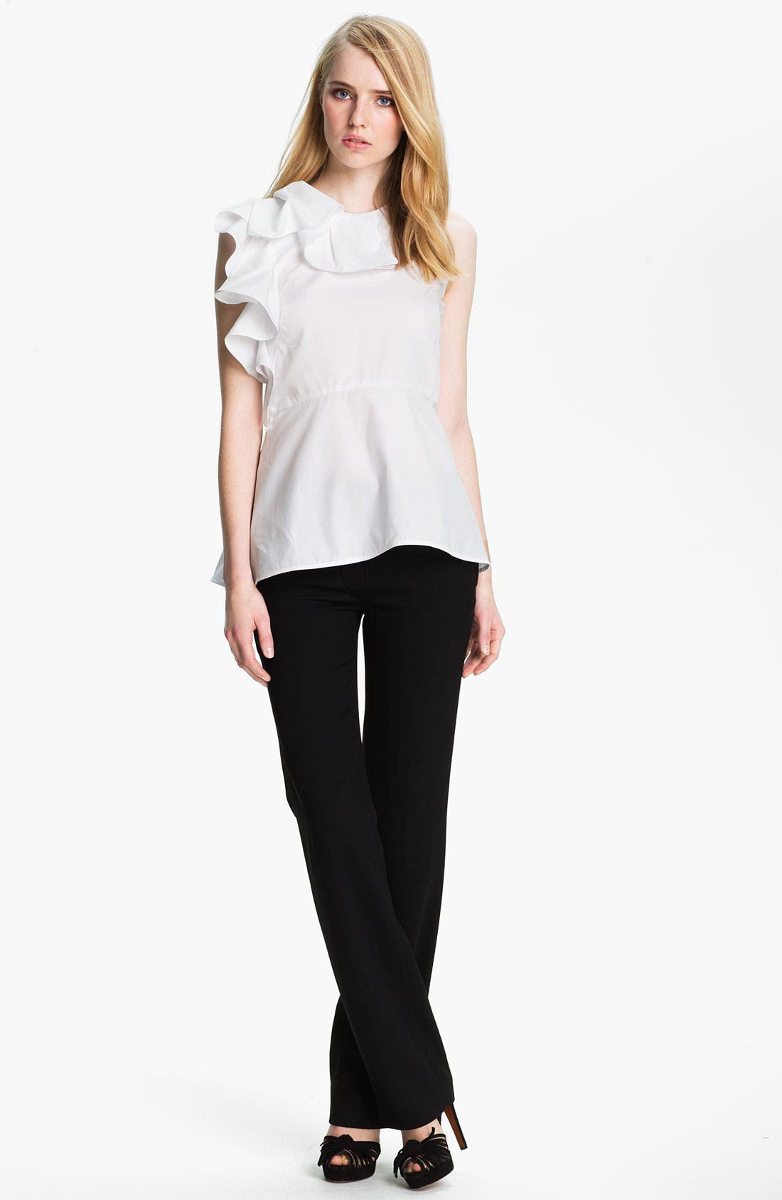 Alternate Image 1 Selected - Halston Heritage Ruffle Detail Cotton Top