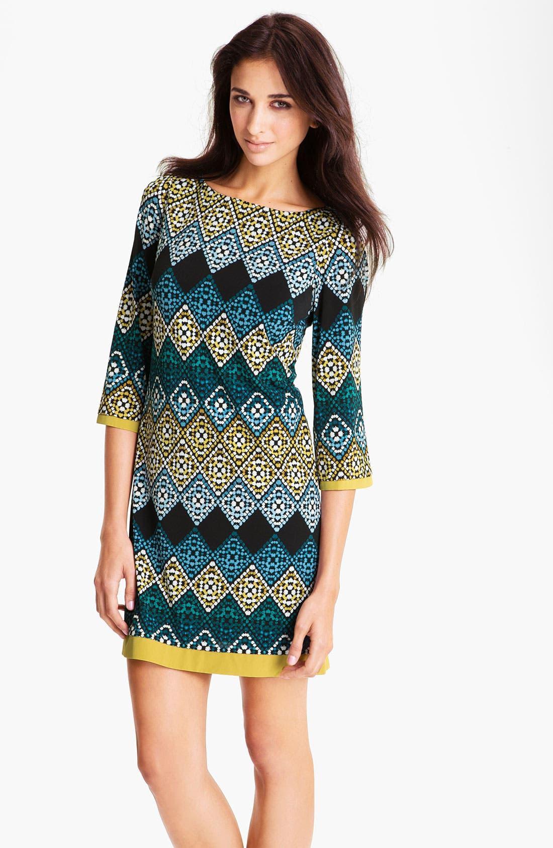 Main Image - Eliza J Diamond Print Jersey Shift Dress