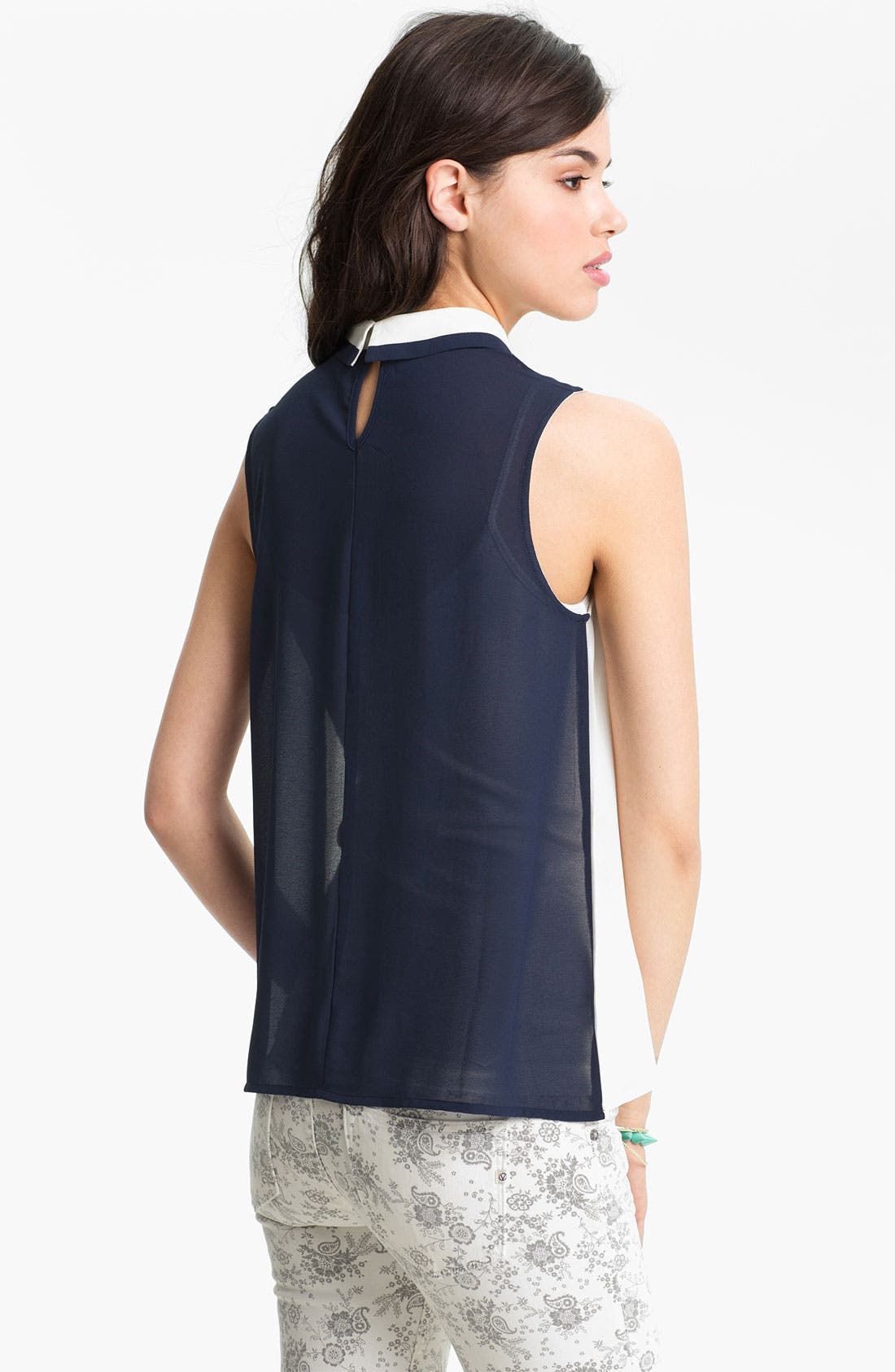 Alternate Image 2  - Chloe K Tip Collar Sleeveless Chiffon Shirt (Juniors)