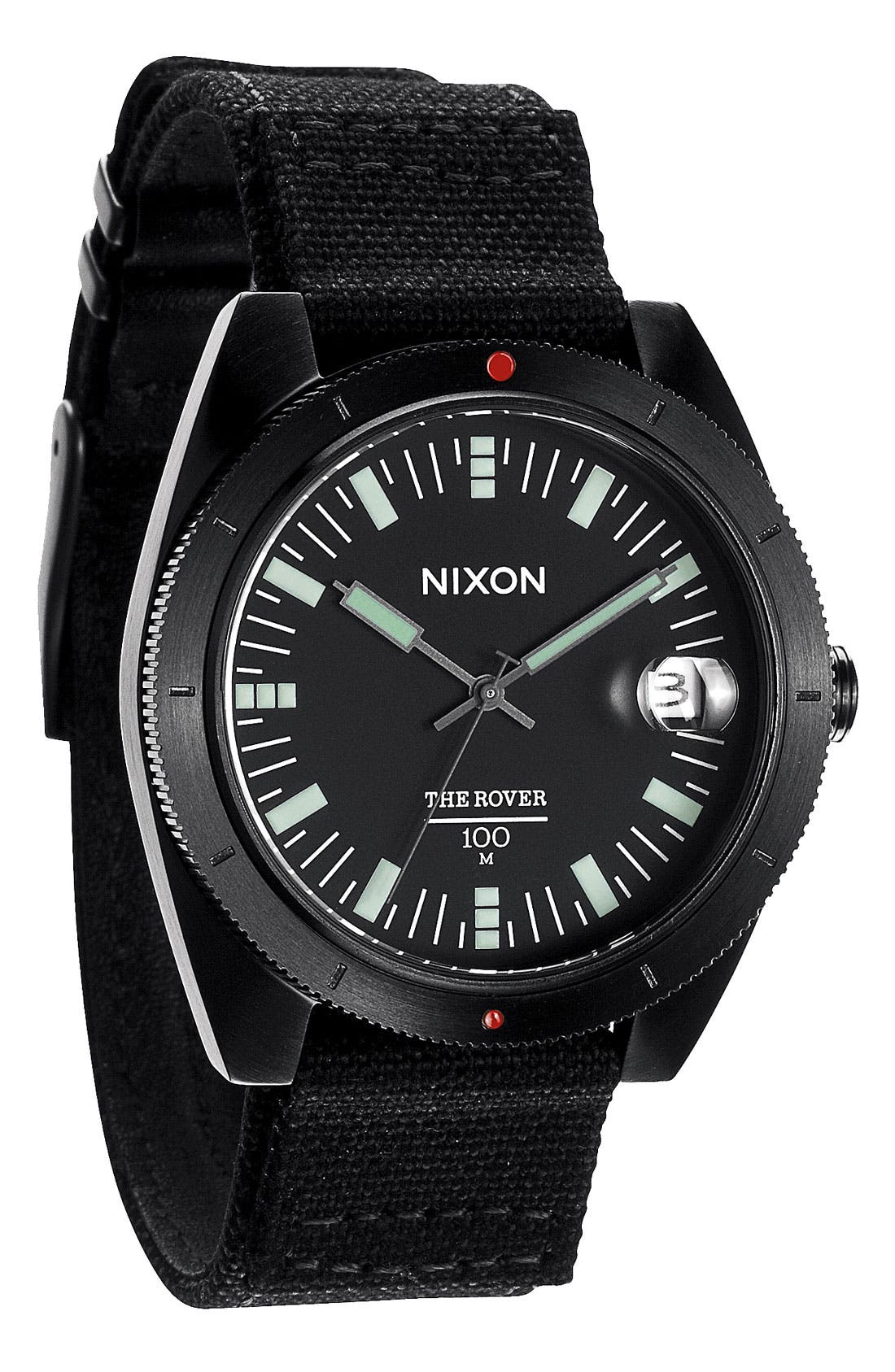 Alternate Image 1 Selected - Nixon 'The Rover' Canvas Strap Watch, 42mm
