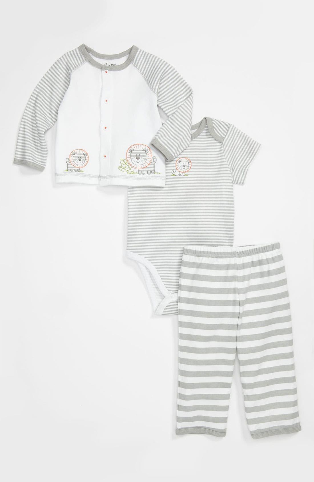 Main Image - Little Me 'Take Me Home - Lion' Bodysuit, Cardigan & Leggings (Infant)