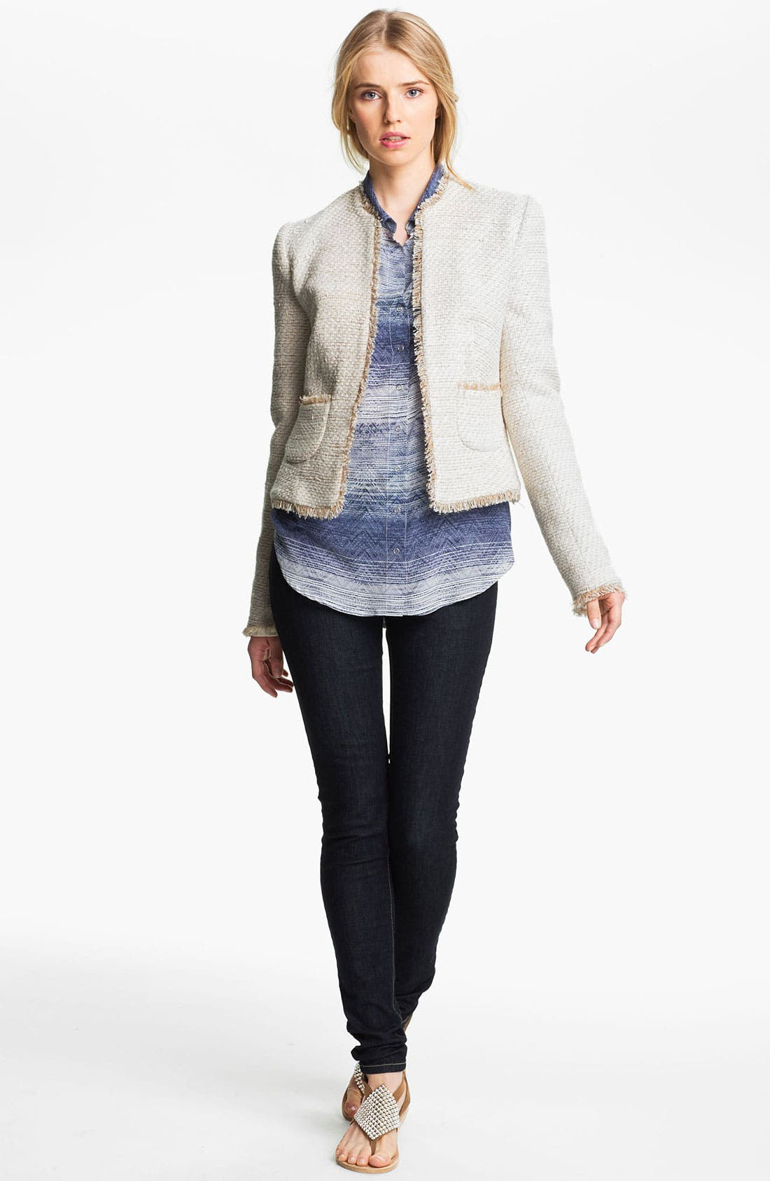Alternate Image 1 Selected - L'AGENCE Frayed Woven Jacket
