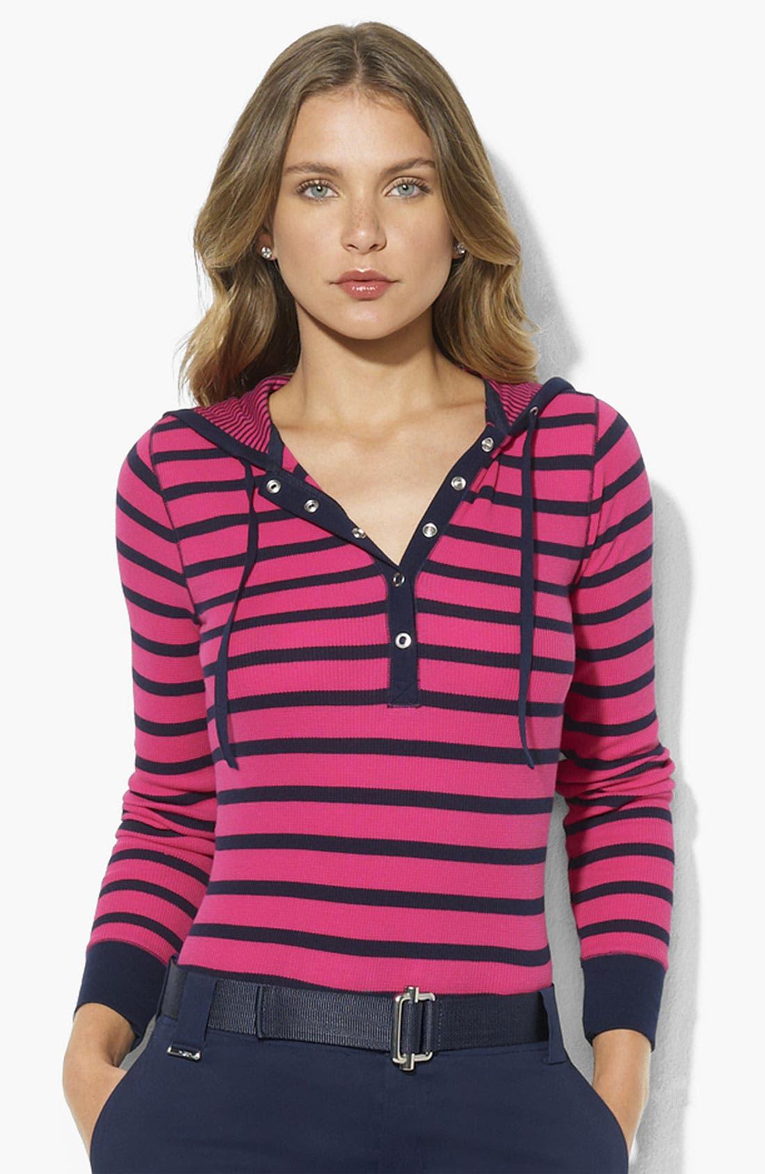 Alternate Image 1 Selected - Lauren Ralph Lauren Snap Placket Stripe Hoodie