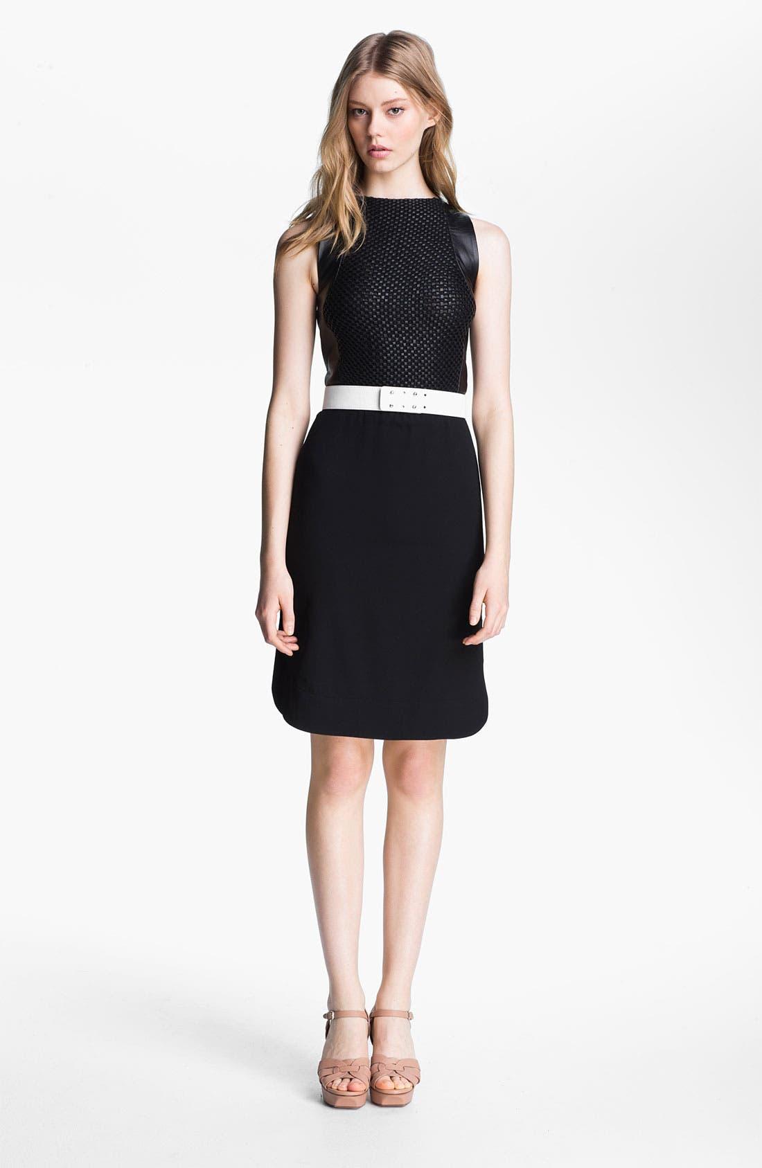 Main Image - L'AGENCE Leather Bodice Crepe Dress