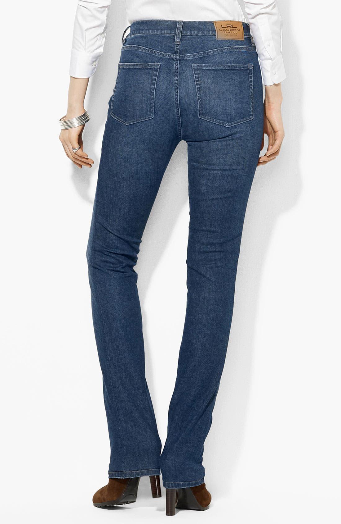 Alternate Image 2  - Lauren Ralph Lauren Slimming Straight Leg Jeans (Petite) (Online Only)