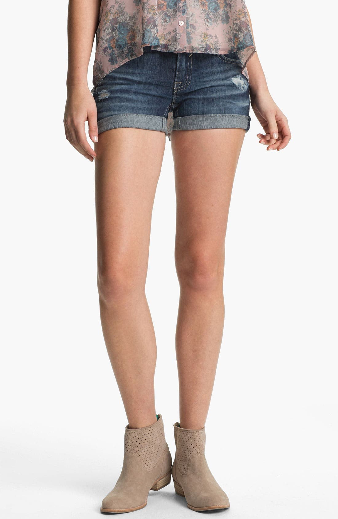 Main Image - Vigoss Distressed Cuff Denim Shorts (Juniors)