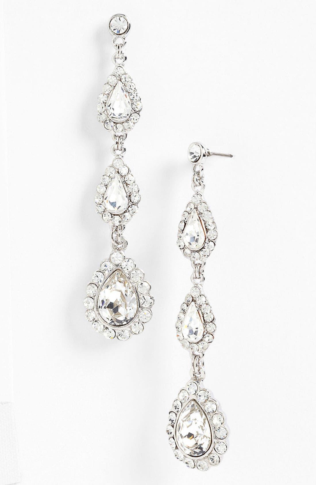 Alternate Image 1 Selected - Nina 'Mallow' Triple Drop Crystal Linear Earrings