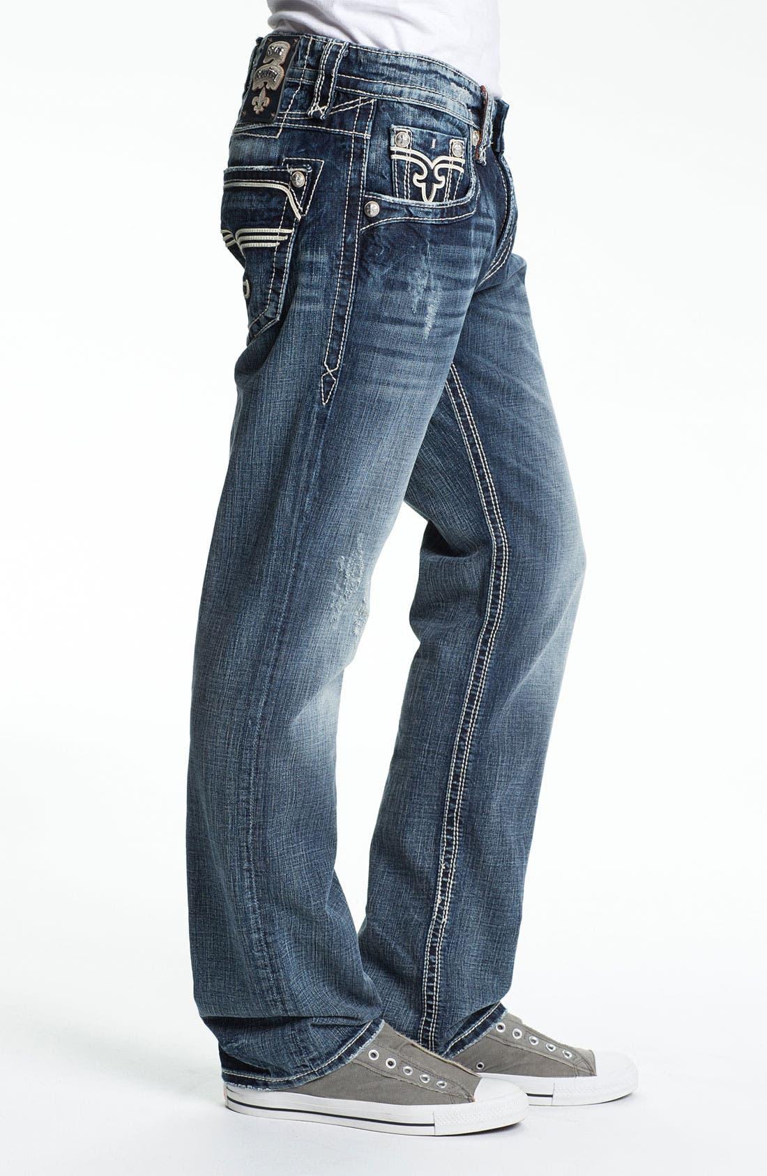 Alternate Image 3  - Rock Revival 'Bobber' Straight Leg Jeans (Dark Blue)