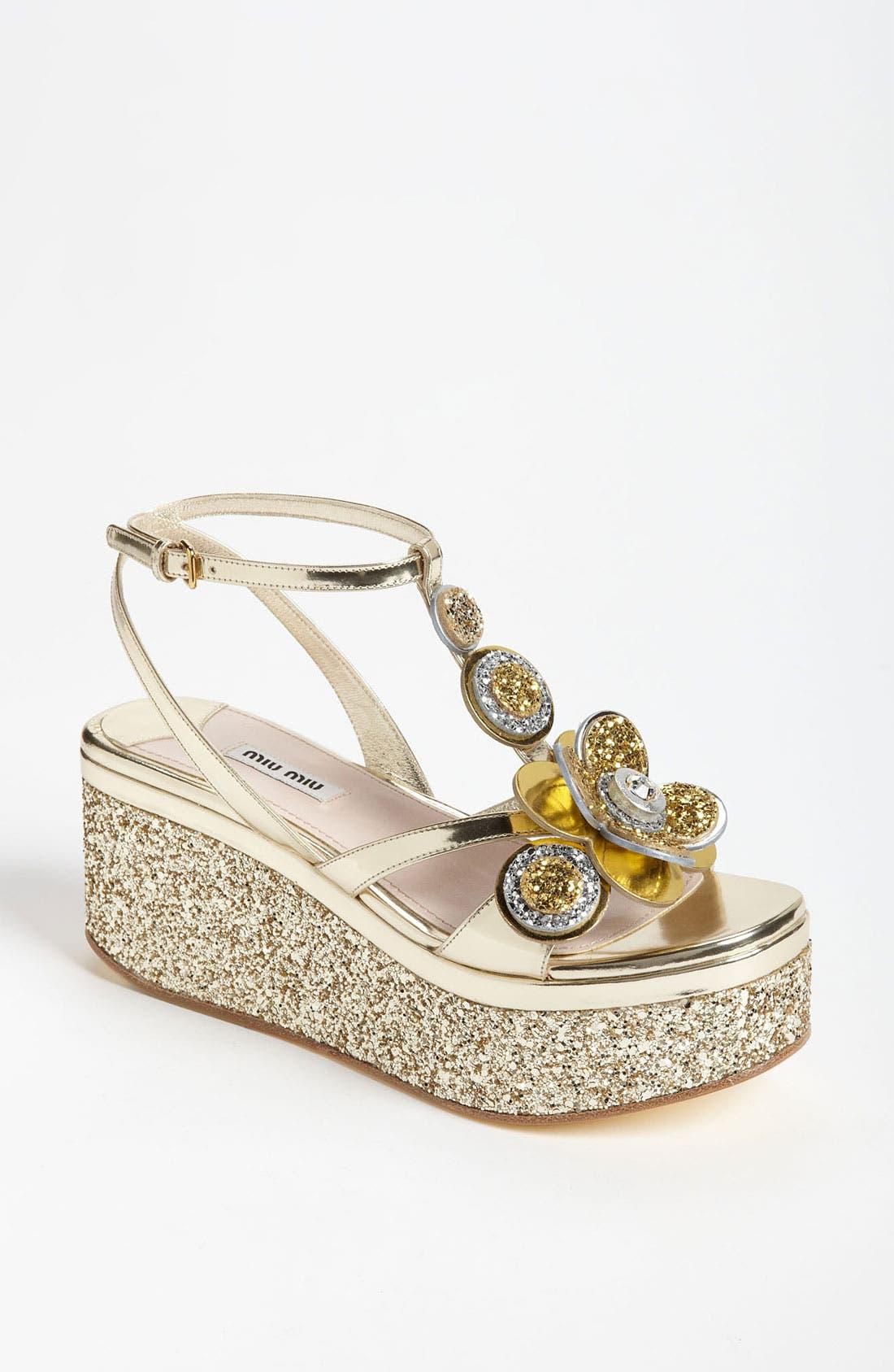 Alternate Image 1 Selected - Miu Miu Flower Platform Sandal