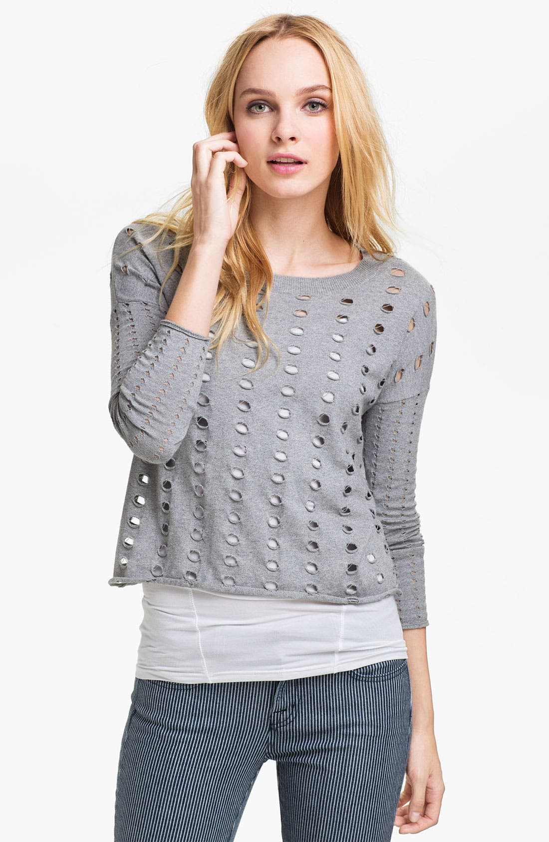 Alternate Image 1 Selected - Two by Vince Camuto Perforated Sweater