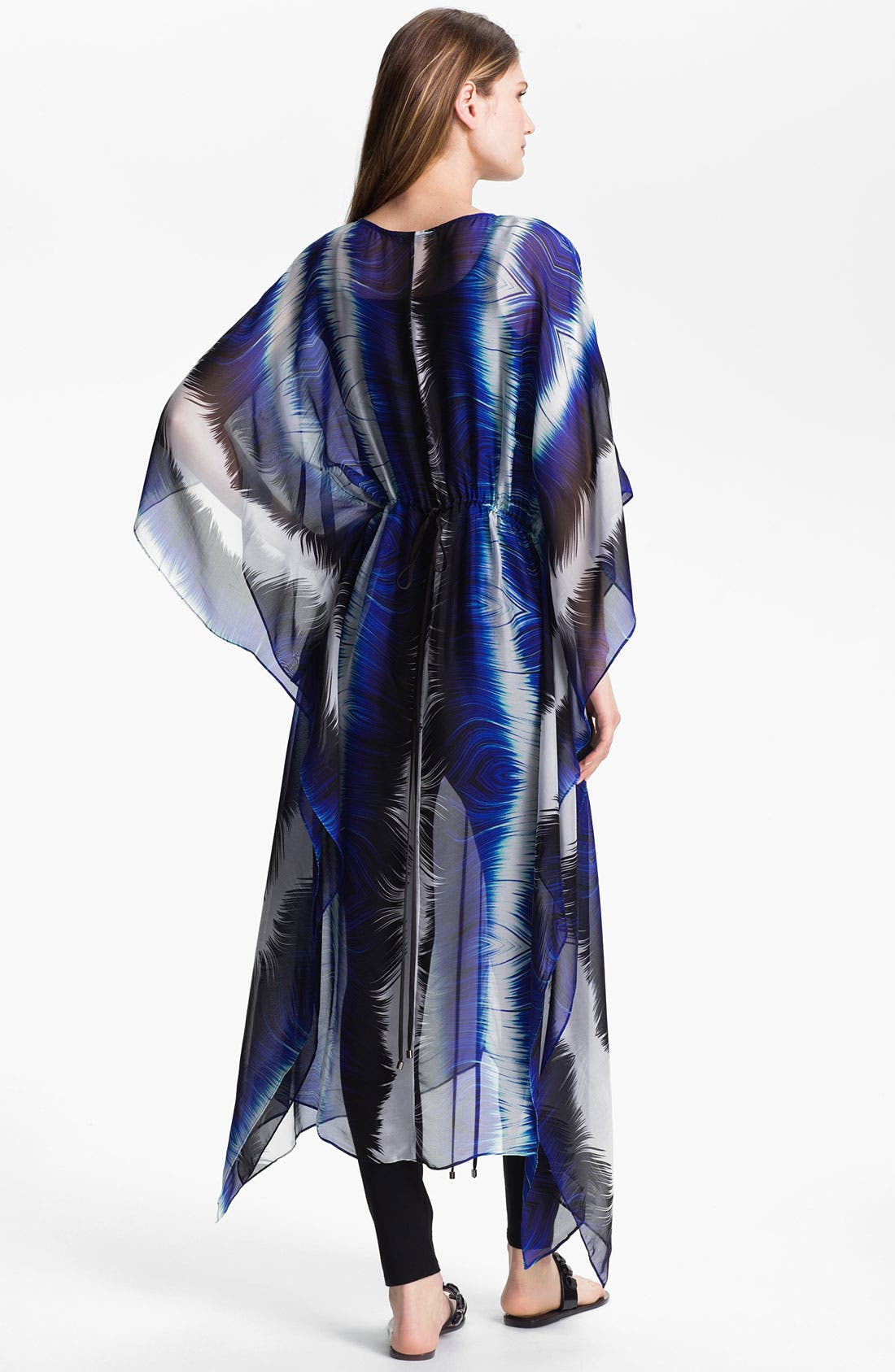 Alternate Image 2  - Alberto Makali Feather Print Silk Caftan