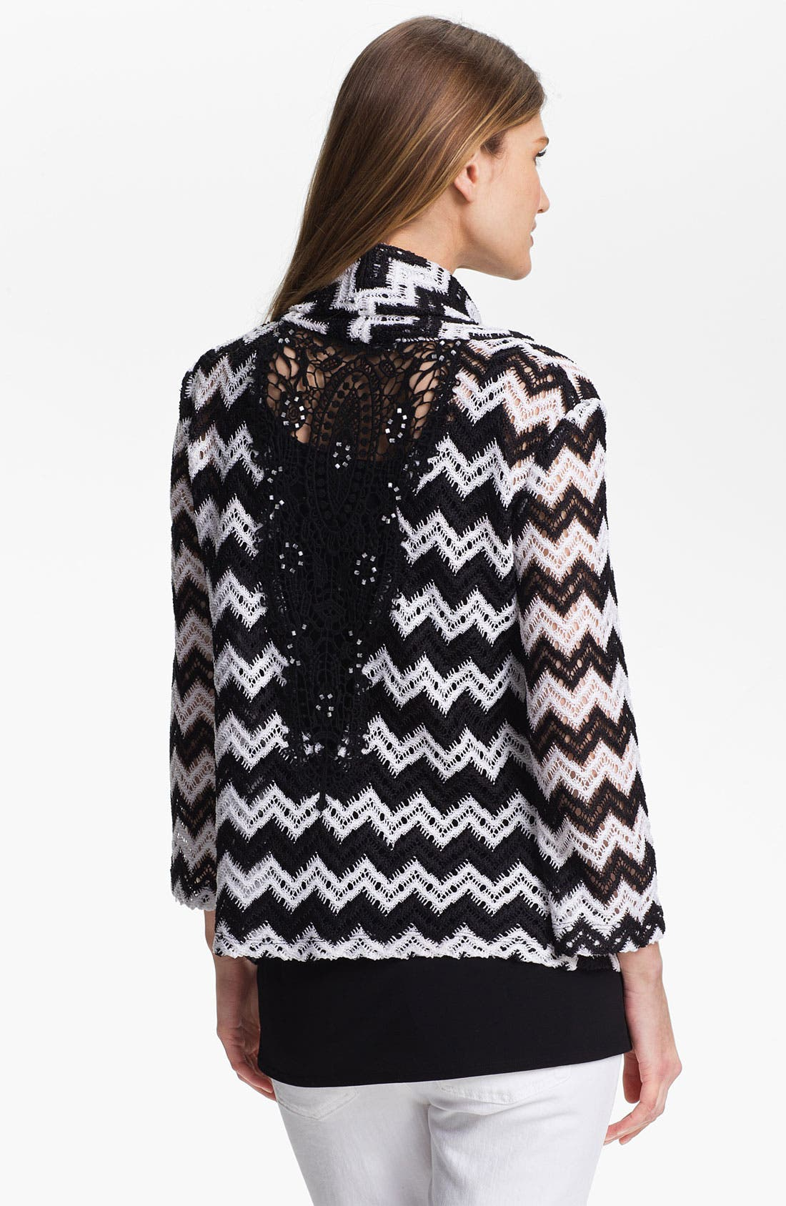 Alternate Image 2  - Alberto Makali Crochet Back Zigzag Cardigan