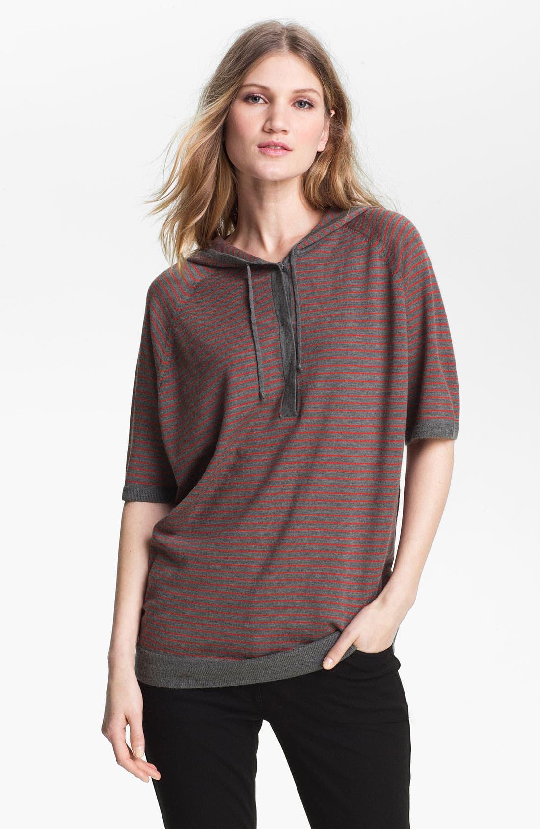 Alternate Image 1 Selected - Eileen Fisher Short Sleeve Hooded Merino Top