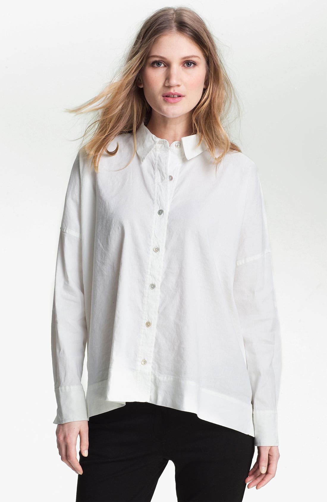 Alternate Image 1 Selected - Eileen Fisher Stretch Linen Blend Shirt