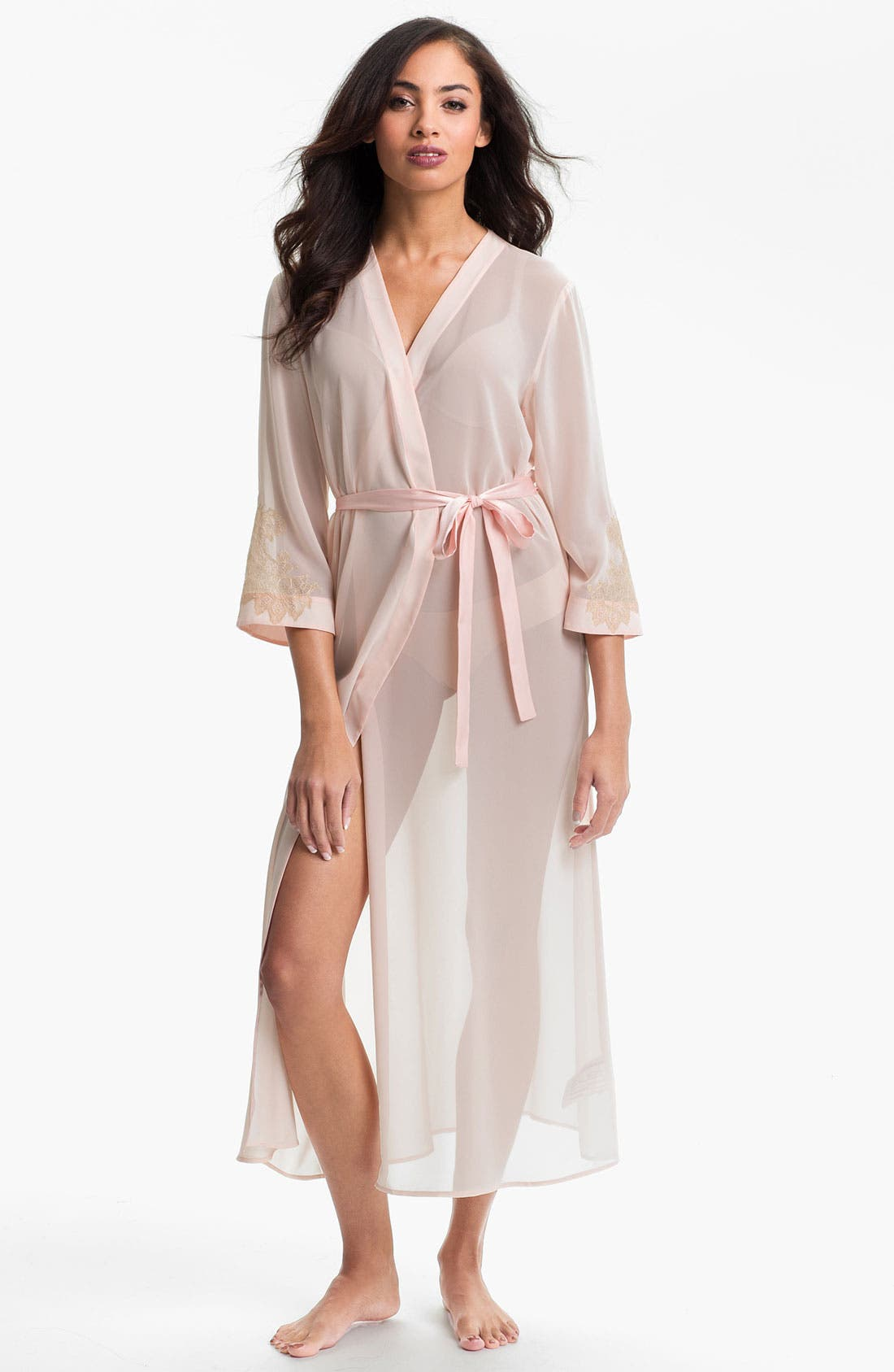 Main Image - Oscar de la Renta Sleepwear 'Lace Trellis' Chiffon Robe