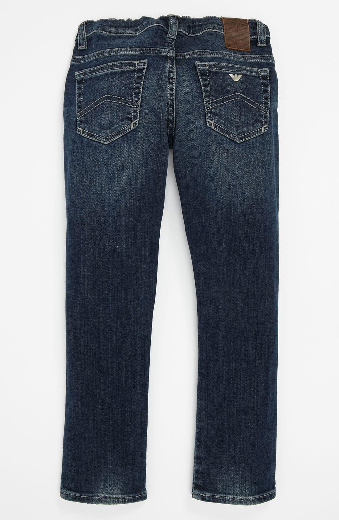 Main Image - Armani Junior Super Slim Jeans (Toddler & Little Girls)