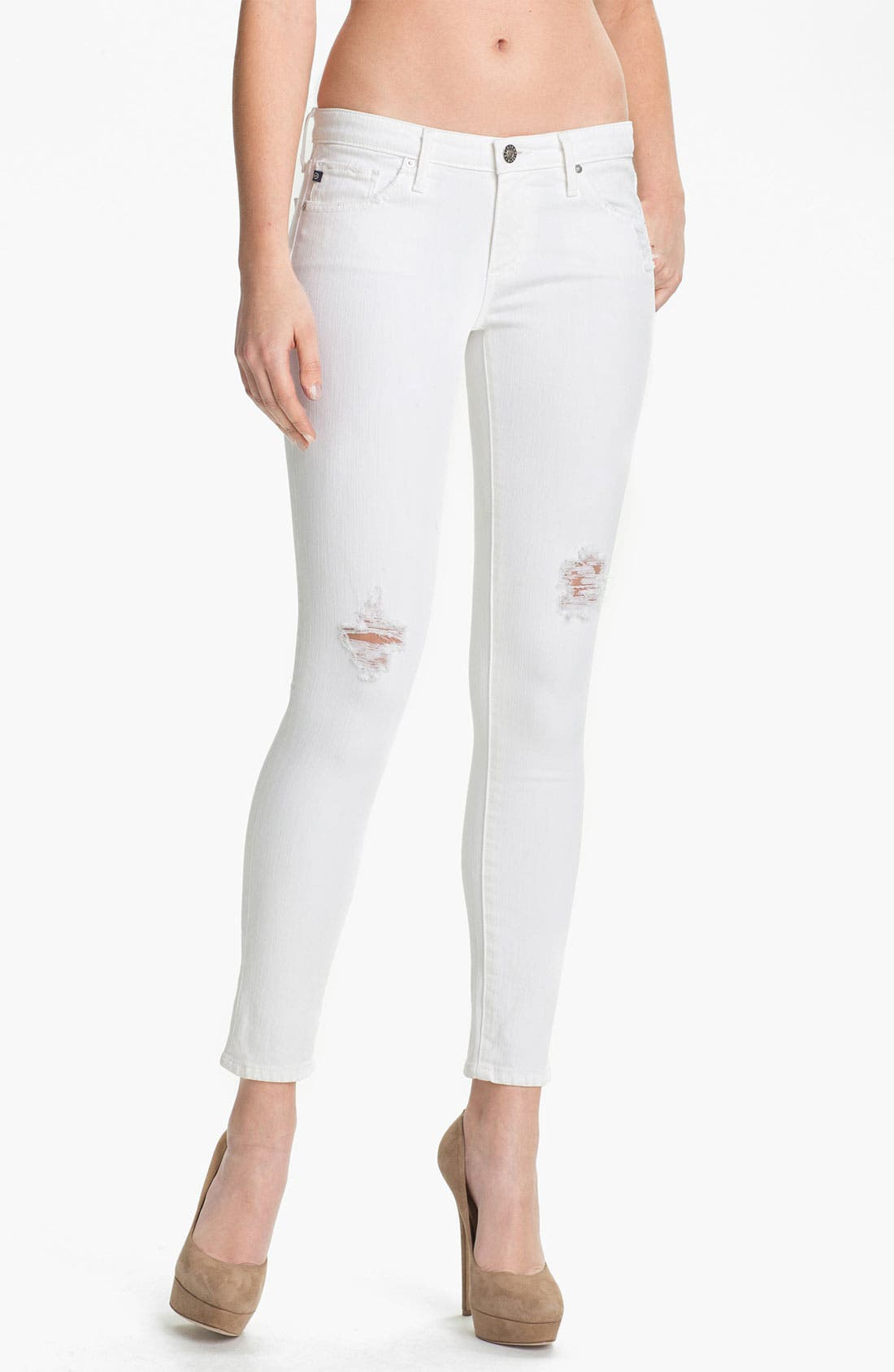 Alternate Image 1 Selected - AG Jeans Skinny Ankle Jeans (White Thrasher)