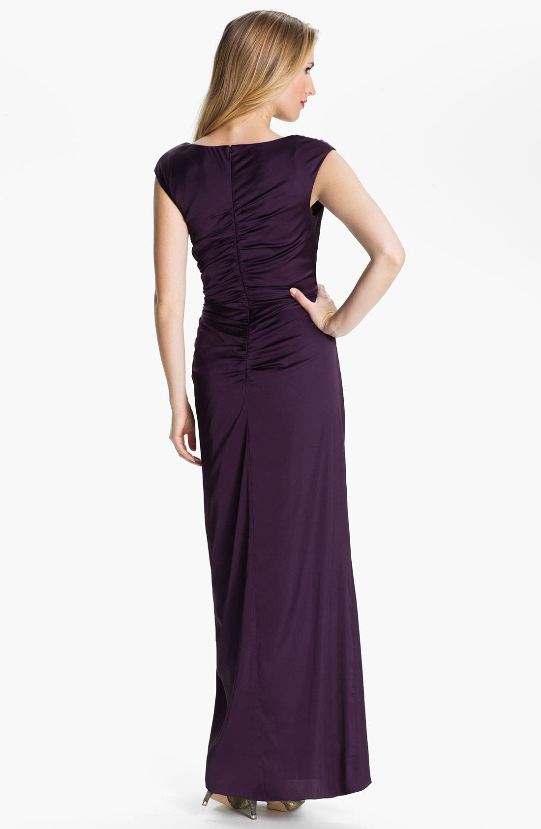 Alternate Image 2  - Patra Cowl Neck Side Slit Satin Gown (Petite)