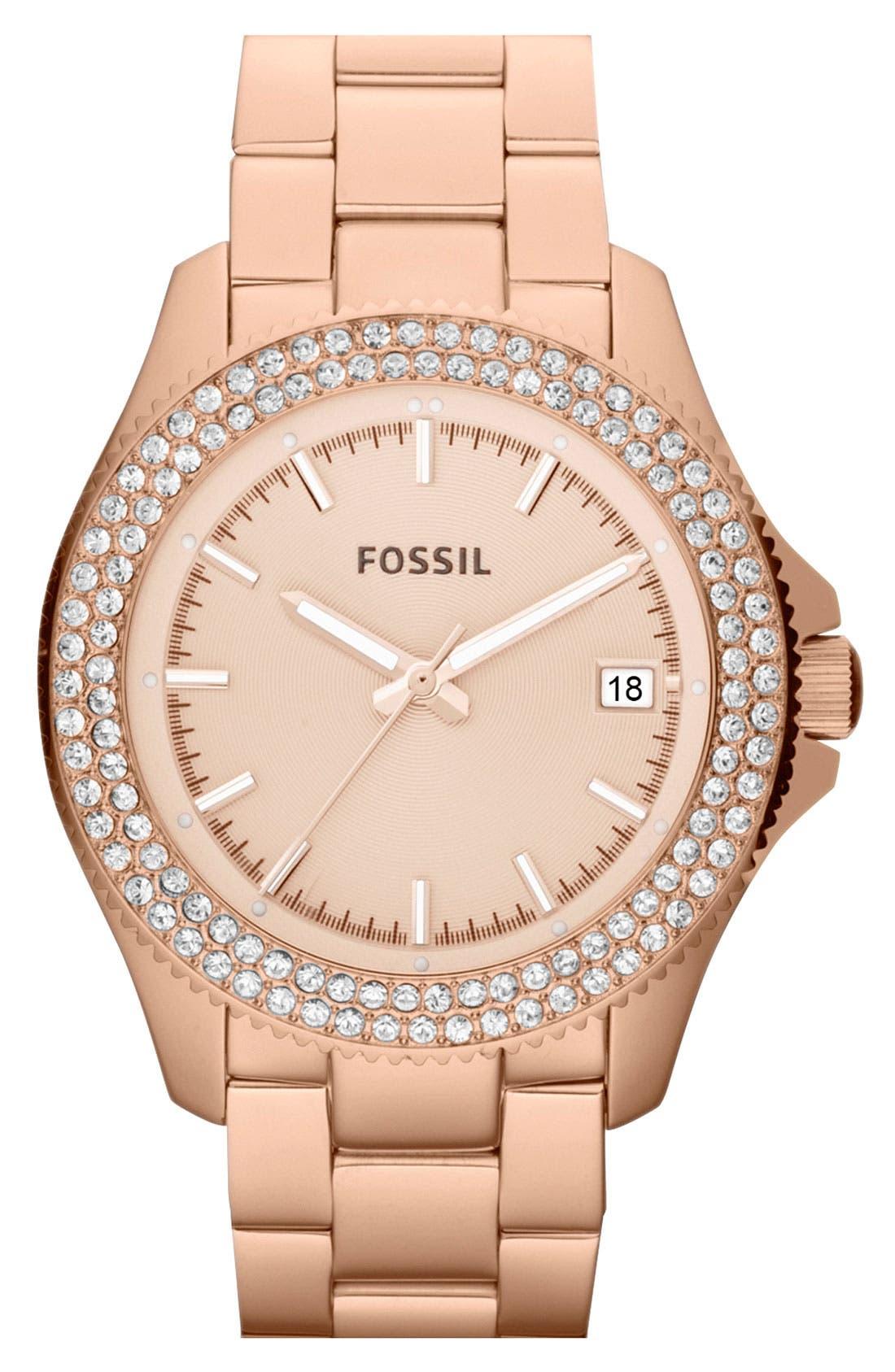 Main Image - Fossil Round Crystal Bezel Bracelet Watch, 36mm