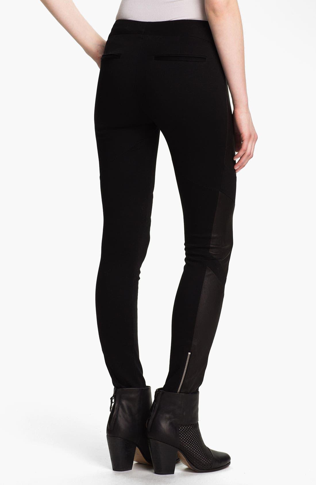 Alternate Image 2  - rag & bone 'Berliner' Leather Panel Leggings