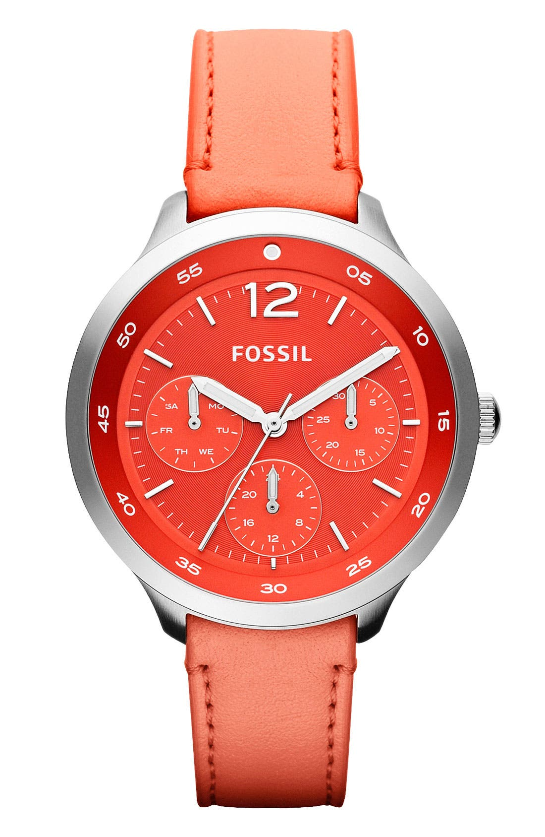 Alternate Image 1 Selected - Fossil 'Editor' Leather Strap Watch, 38mm
