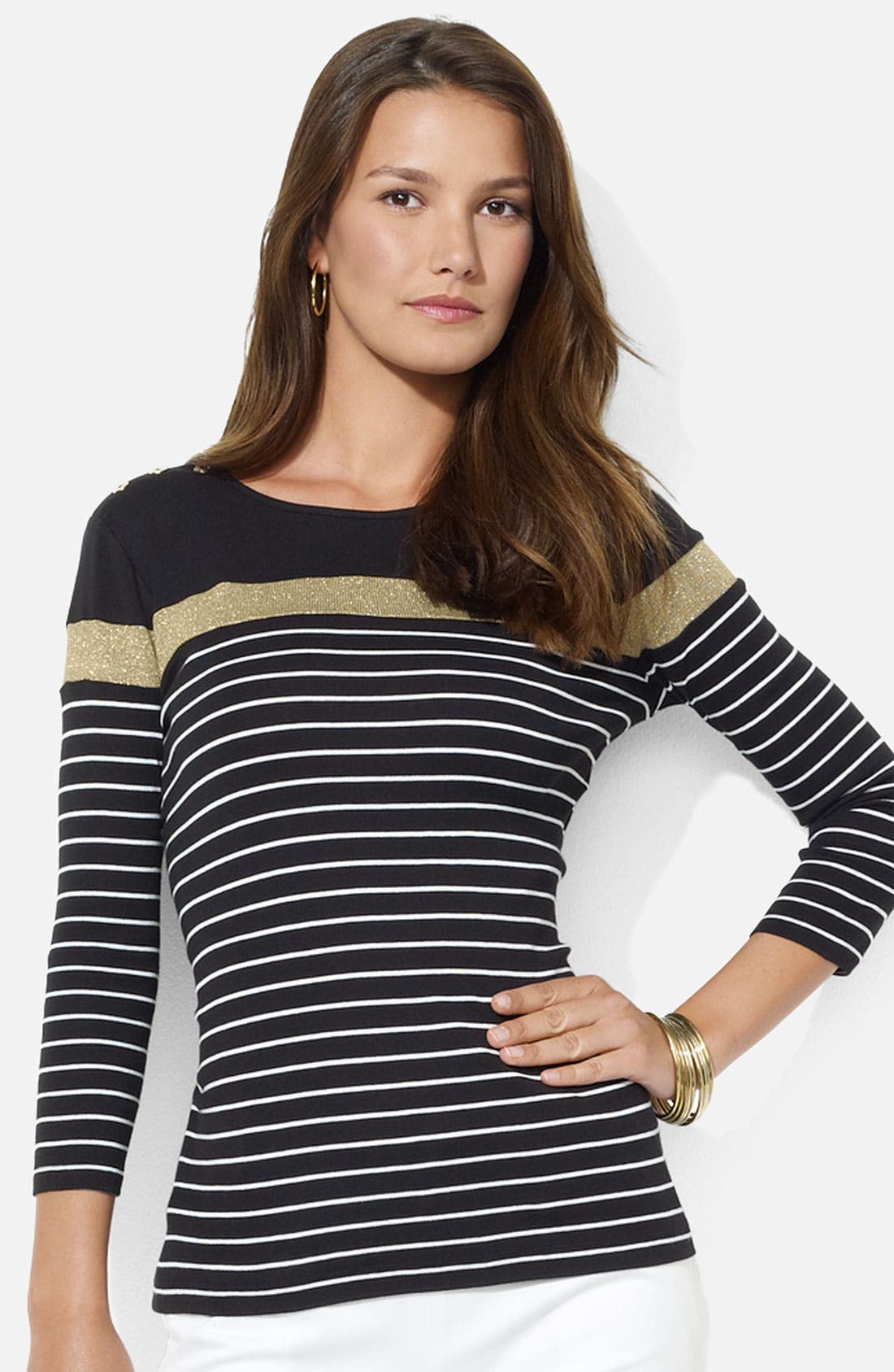 Main Image - Lauren Ralph Lauren Button Shoulder Stripe Tee (Petite)