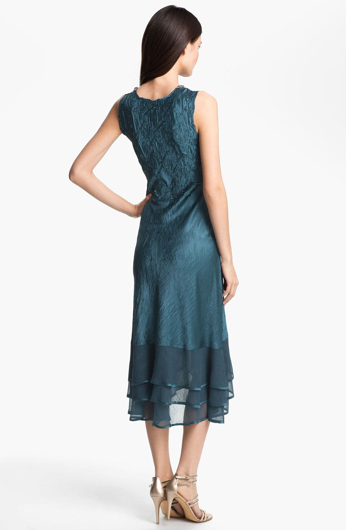 Alternate Image 2  - Komarov Pleated Satin & Chiffon Dress with Jacket