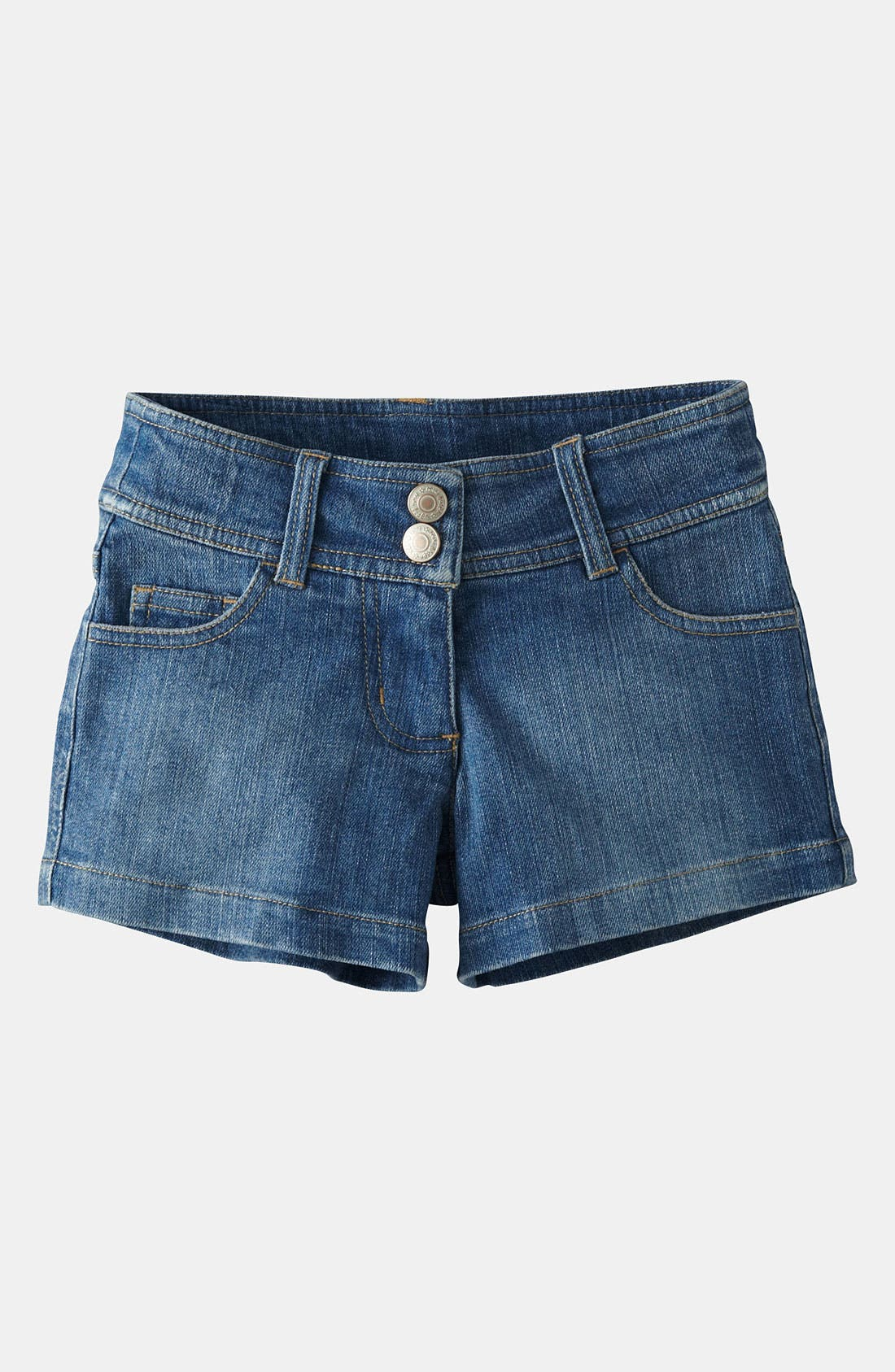 Alternate Image 1 Selected - Mini Boden 'Heart Pocket' Denim Shorts (Toddler, Little Girls & Big Girls)