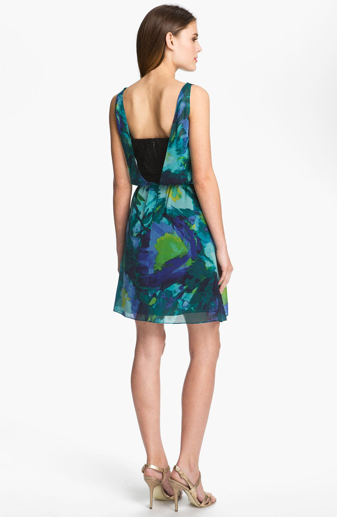 Alternate Image 2  - Donna Morgan Print Cowl Neck Chiffon Dress