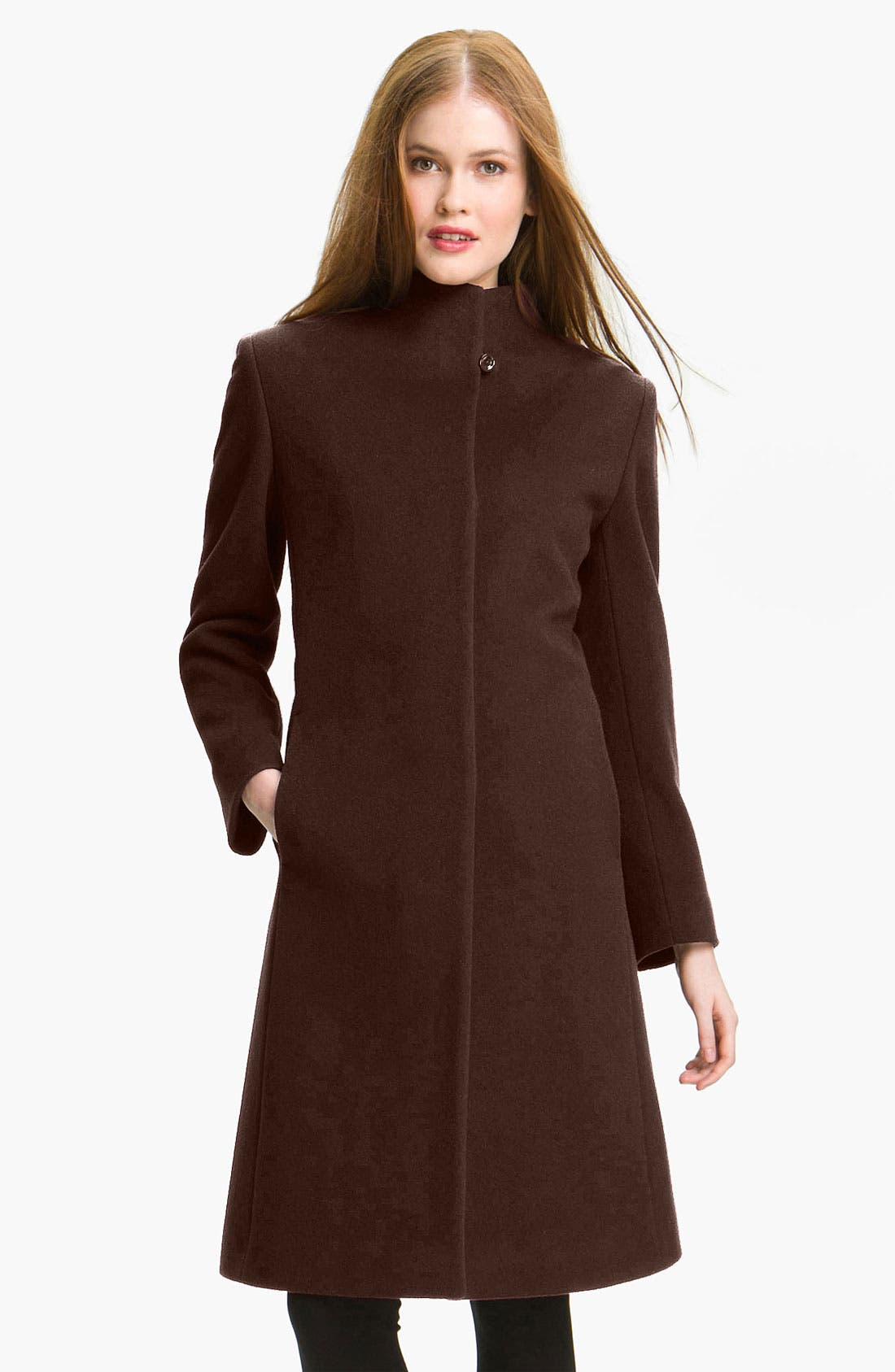 Alternate Image 1 Selected - Cinzia Rocca Stand Collar Long Coat (Petite)