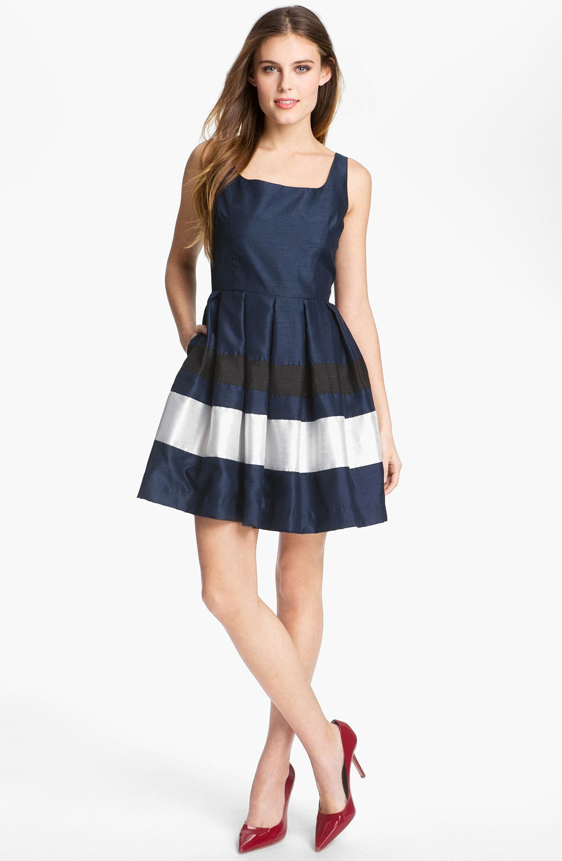 Alternate Image 1 Selected - Taylor Dresses Stripe Fit & Flare Dress