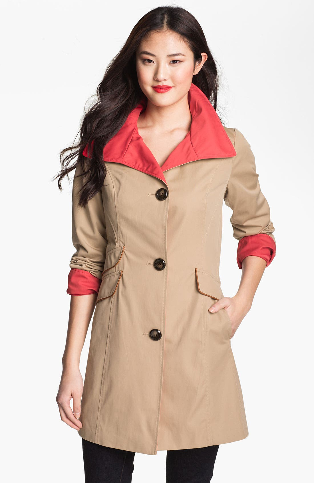Alternate Image 1 Selected - Ellen Tracy Two Tone Walking Coat (Online Only)
