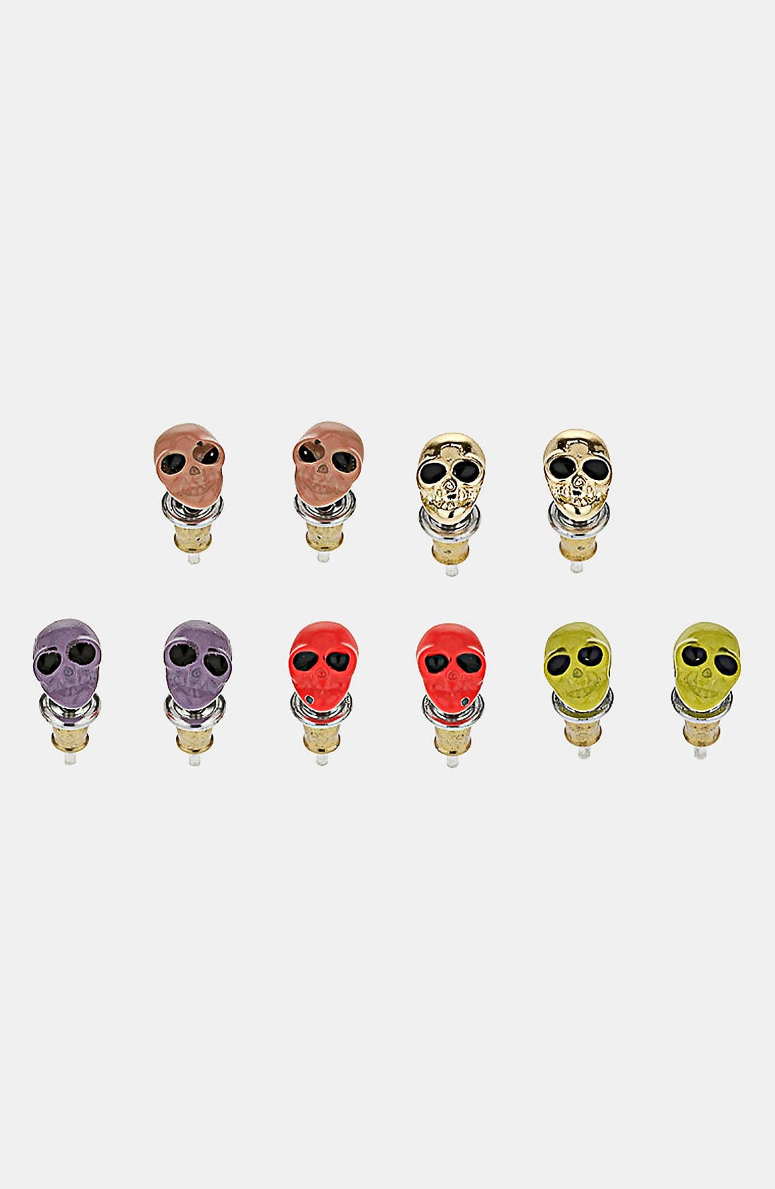 Main Image - Topshop Neon Mini Skull Assorted Earrings (Set of 5)