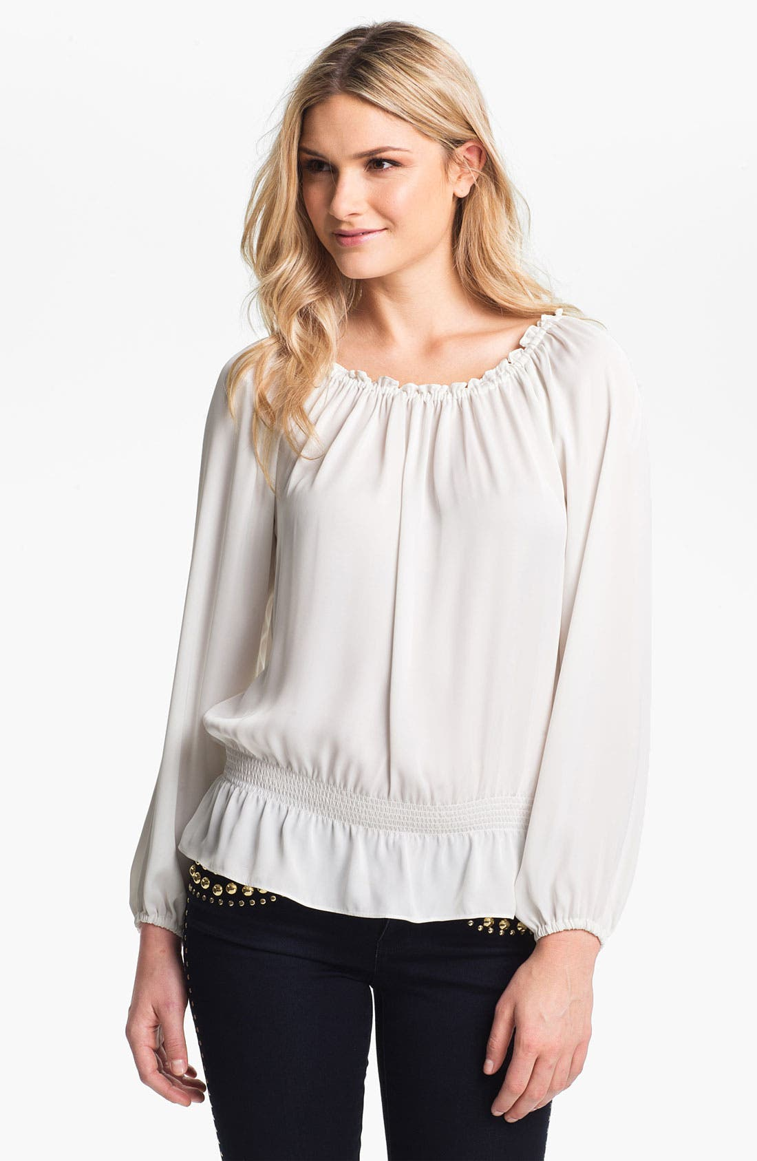 Alternate Image 1 Selected - MICHAEL Michael Kors Smocked Waist Peasant Blouse (Regular & Petite)