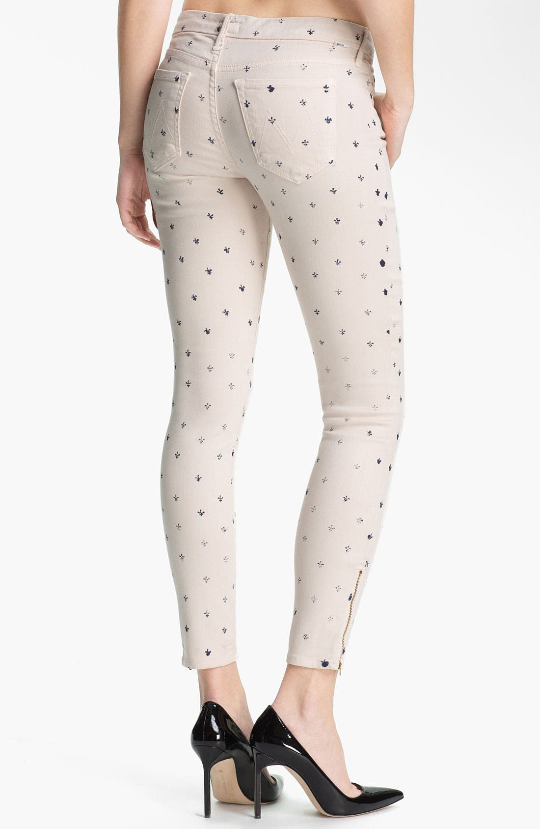 Alternate Image 2  - MOTHER 'The Looker' Print Ankle Zip Skinny Jeans (Lapis)