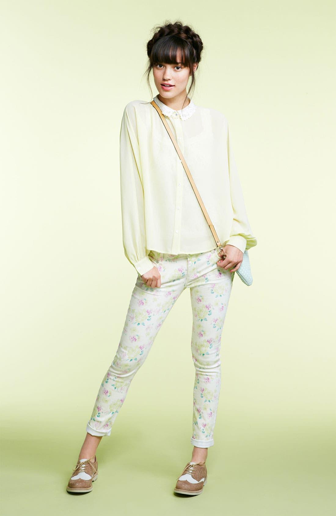 Alternate Image 3  - Elodie Lace Collar Chiffon Shirt (Juniors)